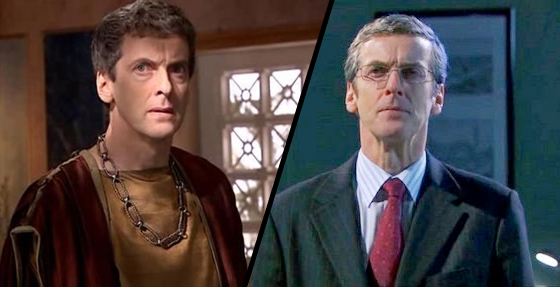 À esquerda, Capaldi como Caecilius em The Fires of Pompeii; à direita como John Frobisher, em Torchwood: Children of Earth